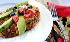 Perfect for a meatless weeknight meal and unique enough for company, loaded with healthy protein and vegetables. Enchilada Casserole, Enchilada Sauce, Mexican Food Recipes, Vegan Recipes, Black Bean Enchiladas, Black Bean Quinoa, Tamale Pie, Fresh Avocado, Healthy Protein