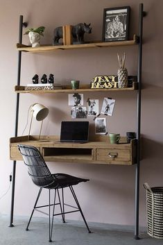 Industrial Style Desk Unit With 2 Shelves from Rockett St George Rockett St George Industrial Style Desk, Industrial House, Industrial Bedroom Decor, Vintage Industrial Furniture, Rustic Industrial, Desk Areas, Home Office Design, My New Room, Cabinet