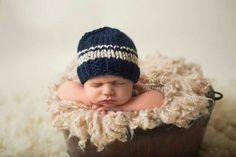 Newborn Hat, Navy Blue Newborn Hat, Blue and Beige Newborn Hat, Wool Newborn Boy Hat, Baby Boy Photo Prop