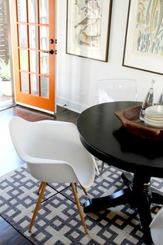 eclectic dining room, eames molded plastic dowel leg chair, vintage table - Madison Modern Home Sell Your House Fast, Boutique Homes, Dining Room Inspiration, Vintage Table, Home Staging, Midcentury Modern, Eames, Interior Design, Chair