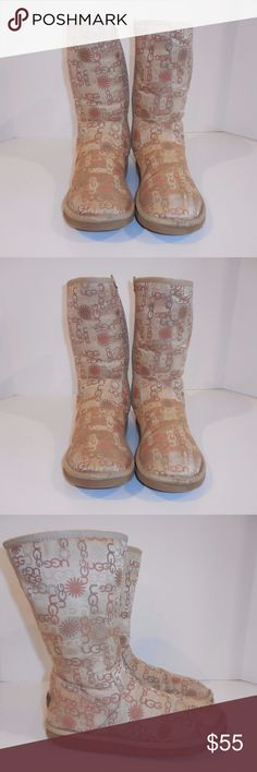"""UGG AUSTRALIA MULTI LOGO BOOTS LIMITED EDITION UGG AUSTRALIA MULTI LOGO BOOTS LIMITED EDITION   Women  Size: 9 - SEE ABOVE FOR OUTSIDE MEASUREMENTS Condition: GOOD, PRE-OWNED In general good condition,  some tears (see picture) hard to notice, no rips, no holes, no stains, inside no bald spots and clean, original soles, long life to remain. HEIGHT: 11.5""""  HEEL TO TOE : 11.2"""" WIDEST POINT: 4.5"""" CONDITION IS SUBJECTIVE SO PLEASE VIEW PHOTOS CAREFULLY AND ASK QUESTIONS  Material: Textile…"""