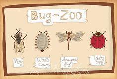 FREE SHIPPING Children wall art Baby boy room illustration - Bug Zoo children bedding 6 x 8 print ladybug dragonfly fly bugs cream neutral