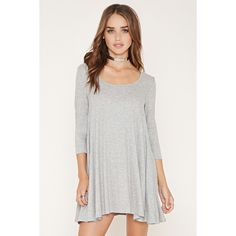 Forever 21 Women's  Ribbed Knit Trapeze Dress ($15) ❤ liked on Polyvore featuring dresses, white sleeve dress, white dress, tent dress, forever 21 and forever 21 dresses