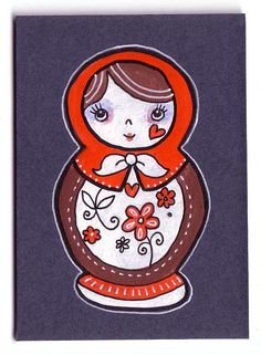 ACEO Russian Doll Navy background1 by Marisa Bogg, via Flickr
