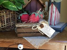 Crate of Strawberries  Primitive Summer   by PrimitivesByCyn