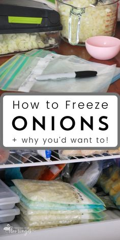How to Freeze Onions for Faster and Easier Cooking The single best thing you can do to spend less time cooking is keeping onions in the freezer. I'm not even kidding! Learn all about how to freeze onions now so you can get dinner on the table faster! Freezing Onions, Freezing Vegetables, Freezing Fruit, Frozen Vegetables, Fruits And Veggies, Freezing Potatoes, Freezer Cooking, Easy Cooking, Cooking Tips