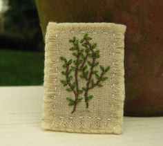 Garden Thyme Embroidered Brooch by Sidereal on Etsy, $25.00