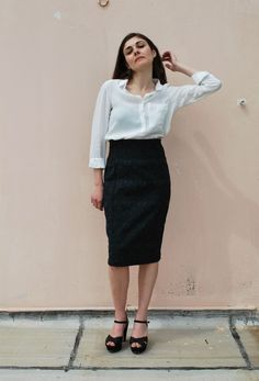HIGH WAIST PENCIL SKIRT via tsouknida. Click on the image to see more!