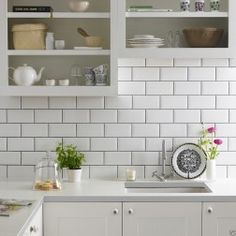 Metro White tiles, Topps Tiles - these are the ones I chose, with the same grey grout, and they look just as good in a bathroom Kitchen Wall Tiles, Kitchen Redo, Kitchen Backsplash, New Kitchen, Kitchen White, Splashback Tiles, Stylish Kitchen, Bathroom Wall, Cream Kitchen Tiles