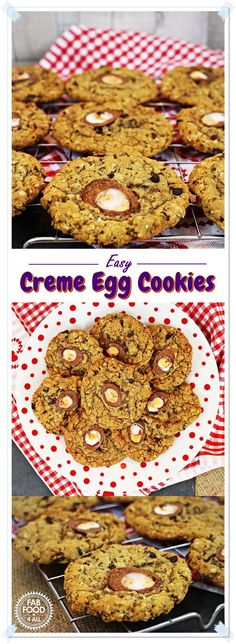 Easy Creme Egg Cookies - delicious chewy cookies perfect for Easter! Best Cookie Recipes, Brownie Recipes, Chocolate Recipes, Baking Recipes, Easy Desserts, Delicious Desserts, Dessert Recipes, Yummy Food, Easter Recipes