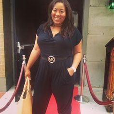Fashion Blogger Lindsay Buchanan (Southern Belle Stylista) wears casual belted jumpsuit for curvy or plus size women.   Great summer and fall transition piece to accentuate curves and keep it classy and sexy.    Michael Kors belt, Forever 21 Jumper, Zara bag, Saks Fifth Avenue Shoes