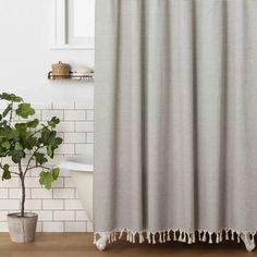Stripe Shower Curtain Railroad Gray - Hearth & Hand™ With Magnolia : Target Striped Shower Curtains, Grey Curtains, Bathroom Shower Curtains, Shower Curtain Rods, Shower Rod, Guest Bathrooms, Bathroom Ideas, Master Bathroom, Bathroom Updates