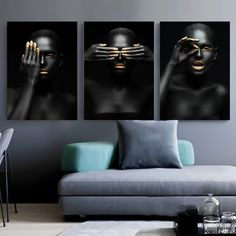 Black Gold Nude African Art Woman Nordic Style Painting on Canvas Posters and Prints Scandinavian Wall Picture for Living Room Canvas Wall Decor, Canvas Art Prints, Painting Canvas, Painting Abstract, Canvas Poster, Poster Wall, Nordic Art, Nordic Style, Gold Wall Art