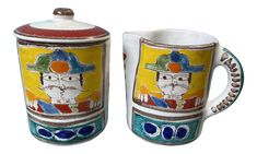 Mid 20th Century DeSimone Sugar Bowl 50 Years Old, Sugar Bowl, Tea Time, Picasso, 1960s, Colorful, Rustic, Cream, Modern