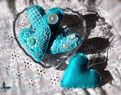 Little felt button hearts in a heart dish I Love Heart, Happy Heart, My Heart, Heart Art, Fuzzy Felt, Felt Hearts, Blue Hearts, Love Symbols, Felt Ornaments