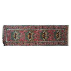 Check out this item at One Kings Lane! 2'x8' Chiana Rug, Red/Green