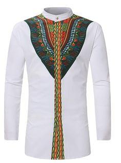Africa clothing African Dashiki Shirt 2018 Fashion Ethnic Printed Long Line Shirt Men Slim Fit Long Sleeve Shirts Male Camisas. Americana Vintage, Stand Collar Shirt, Collar Top, Tribal Shirt, Hippie Shirt, Dashiki Shirt, Dashiki Dress, Style Africain, African Dashiki