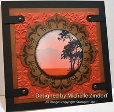handmade card: Serene Scene – Stampin' Up! Card Tutorial by Michelle Zindorf . as always, a work fo art . sunset silhouette scene famed by Floral Framit Frame . browns and earthy rusty colors . lots of layers . Card Making Inspiration, Making Ideas, Daydream Medallions, Serene Silhouettes, Cute Cards, Men's Cards, Tampons, Fall Cards, Mandalas