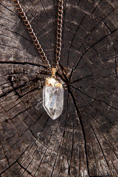 ♥ Gold Clear Quartz Point Necklace by IndigoMoonVtg on Etsy, $25.00