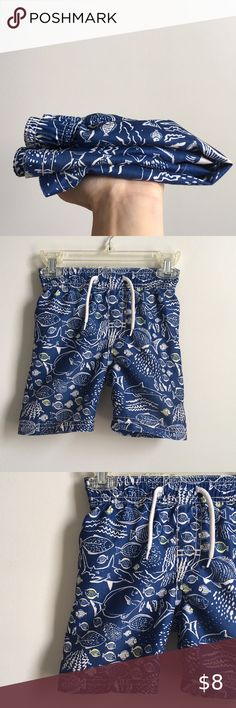 NWT BABY GAP BOYS SWIM TRUNKS SHORTS  sharks fish embroidered  you pick size