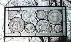 stained glass panel Vintage all Clear by BarbarasStainedGlass