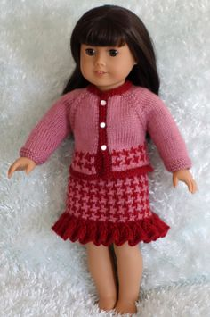 PATTERN - 01 Houndstooth Skirt and Jacket for American Girl Doll by PurlKnitDesigns on Etsy