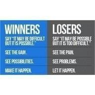 Winners vs. Losers.  You pick what you want to be!