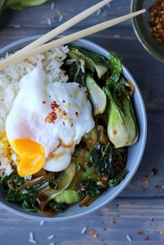 Rice Bowl with Braised Bok Choy, Leeks and Spinach