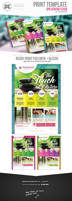 Get Banner Version : https://graphicriver.net/item/beauty-spa-banner/20478302 Flyer templates designed exclusively for health, beauty, spa ,facial, sales or any of use. Fully editable, image/logo can be quickly added or replaced in smart objects. Easy to edi