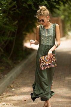 Sage Green Maxi Dress, Long Dress, Tribal Ethnic Long Caftan Dress, Olive Green Embroidered Dress, B - Männliche Models Trendy Dresses, Fashion Dresses, Summer Dresses, Maxi Dresses, Long Dresses, Beach Dresses, Fashion Clothes, Tribal Dress, Boho Dress