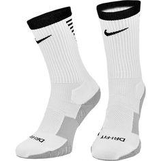 7584b63ebf52 Nike Mens Performance Cushioned Crew White Black Gry Soccer Socks 6-8  SX5345-100
