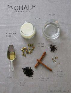 [ Recipe: Chai Tea ] made with: water, milk, cardamom pods, whole cloves, white peppercorns, cinnamon sticks, ginger, black tea (golden assam for author), and honey. ~ from Sanae Ishida