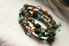 Wondering Gypsy Coral Teal Memory Wire Bracelet by LuMagoo on Etsy,