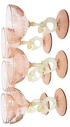 6 Lauscha Bimini Likör Gläser Meerjungfrau 30er Jahre rosa Liqueur glass  Höhe eines Glases: 9 cm Vienna, Austria, Decor, Glass, Pink, Carafe, Mermaid, Decoration, Decorating