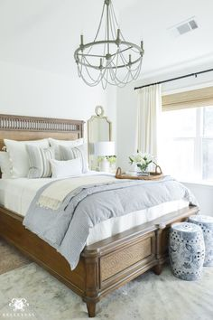One Room Challenge Blue and White Guest Bedroom Reveal Before and After Makeover- guest bedroom decorating ideas