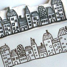 Hand-carved village stamp by Le Petit Pig (Janet Chan) Diy Stamps, Homemade Stamps, Stamp Printing, Screen Printing, Envelopes, Stencils, Eraser Stamp, Stamp Carving, Linocut Prints