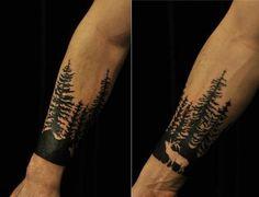 Pine forest tattoo