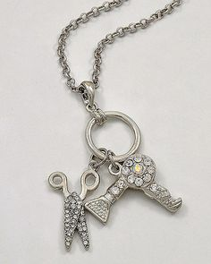 Blowdryer and Scissor Hair Salon Necklace - Great Graduation Gift for a Cosmetology Student