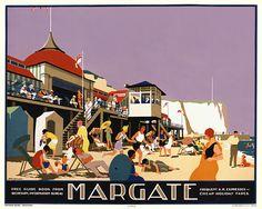 Margate, England by Gawthorn 1926 Posters Uk, Railway Posters, Art Deco Posters, Poster Prints, Art Prints, Margate England, British Travel, Tourism Poster, Southern Railways