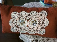 Burnt Orange Suede Pillow with Vintage Crochet Doily. $49.95, via Etsy.