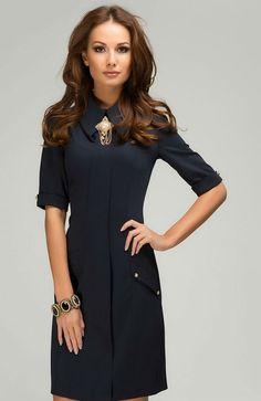 Navy Blue Dress Shirt.Retro Inspired Dress Work.Short Dress Casual.