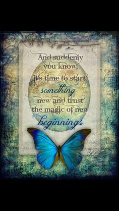 And suddenly you know, it's time to start something new and trust the magic of New Beginnings ~ Jessica Galbreth (butterfly quotes) Morpho Butterfly, Blue Butterfly, Blue Morpho, Butterfly Kisses, Butterfly Bedroom, Butterfly Dragon, Affirmations, Quotes Arabic, Butterfly Quotes
