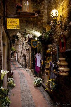 Shopping alley, Dolceacqua, Italy
