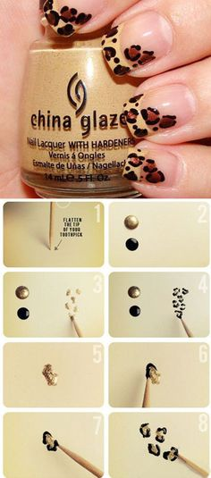 DIY Leopard Nails nails diy craft nail art nail trends diy nails diy nail art easy craft diy fashion manicures diy nail tutorial easy craft ideas teen crafts home manicures Fancy Nails, Diy Nails, Cute Nails, Pretty Nails, Hallographic Nails, Nails 2016, Acrylic Nails, Leopard Nail Art, Leopard Print Nails