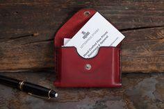 Red Handmade leather business card holder holds custom by Raghaus #makersonhudson