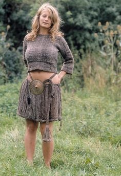 The danish Egtved girl - her woolen clothes reconstructed. Bronze age girl buried aged 16-18. With braided hair not shown here.