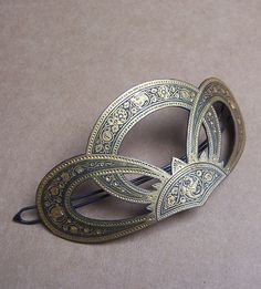Vintage hair accessory Victorian or Edwardian toledo ware hair barrette. $40.00, via Etsy.