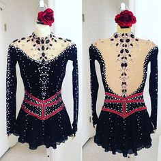 Spanish  Custom Designed Dress by Lisa McKinnon #lisamckinnon #costumedesigner #custom #dress #figureskating #teamusa #skatingdress #dance #costume #spanish #tango #flamenco #rose #jewels #crystals #swarovski #siam #blackvelvet