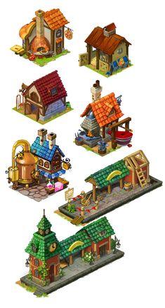 Sonya Karamelkina: Домики Lucky Fields Bg Design, Prop Design, Game Design, Isometric Art, Isometric Design, 3d Fantasy, Fantasy House, Environment Concept Art, Environment Design