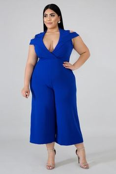 Casual Jumpsuit | GitiOnline Casual Jumpsuit, Jumpsuit Style, Plus Size Casual, Big And Beautiful, Plus Size Fashion, Short Sleeves, Sexy, Cold Shoulder, Flare
